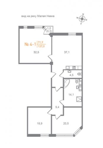 3-комнатная квартира на продажу (172,0 м<sup>2</sup>)