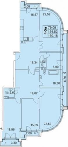 4-комнатная квартира на продажу (160,4 м<sup>2</sup>)