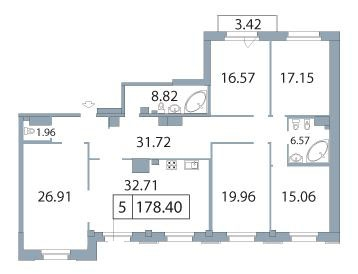 5-комнатная квартира на продажу (179,7 м<sup>2</sup>)