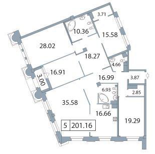 5-комнатная квартира на продажу (203,1 м<sup>2</sup>)