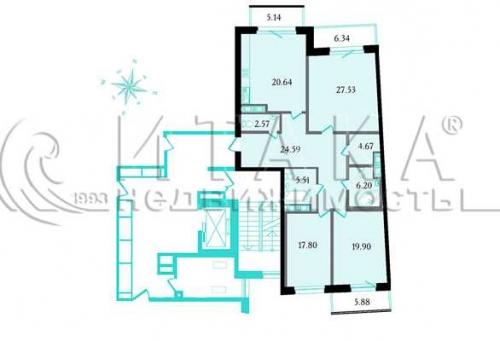 3-комнатная квартира на продажу (132,0 м<sup>2</sup>)
