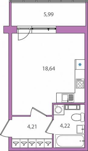 1-комнатная квартира на продажу (28,9 м<sup>2</sup>)