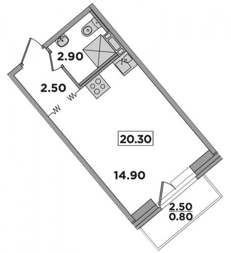 Студия на продажу (20,3 м<sup>2</sup>)
