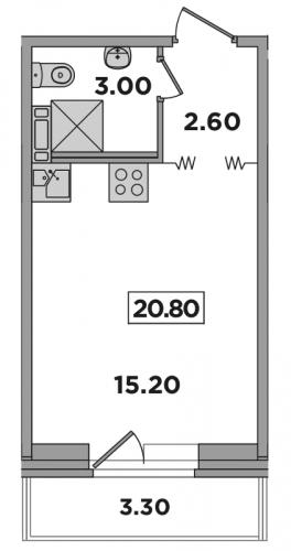 Студия на продажу (20,8 м<sup>2</sup>)