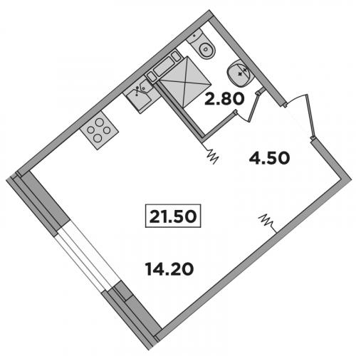 Студия на продажу (21,5 м<sup>2</sup>)