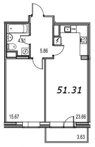 1-комнатная квартира на продажу (51,5 м<sup>2</sup>)
