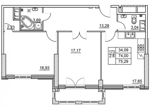 2-комнатная квартира на продажу (75,0 м<sup>2</sup>)