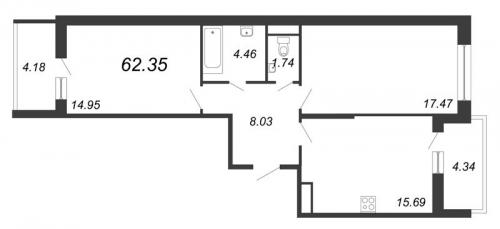 2-комнатная квартира на продажу (62,4 м<sup>2</sup>)