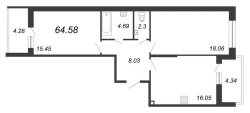 2-комнатная квартира на продажу (64,6 м<sup>2</sup>)