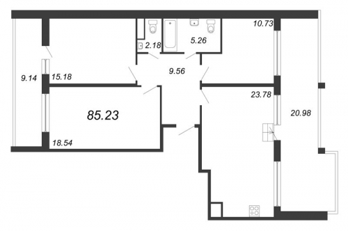 4-комнатная квартира на продажу (85,2 м<sup>2</sup>)