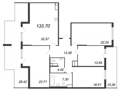5-комнатная квартира на продажу (133,7 м<sup>2</sup>)