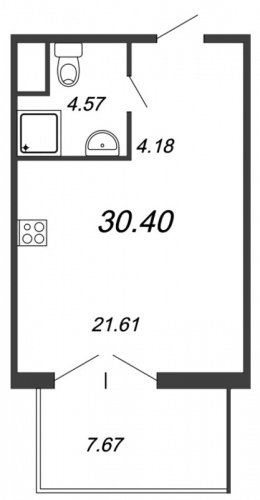 Студия на продажу (32,5 м<sup>2</sup>)