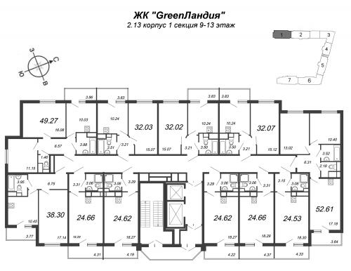 1-комнатная квартира на продажу (32,1 м<sup>2</sup>)