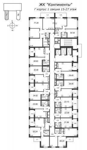 3-комнатная квартира на продажу (49,2 м<sup>2</sup>)