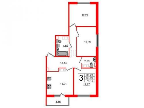 3-комнатная квартира на продажу (71,1 м<sup>2</sup>)