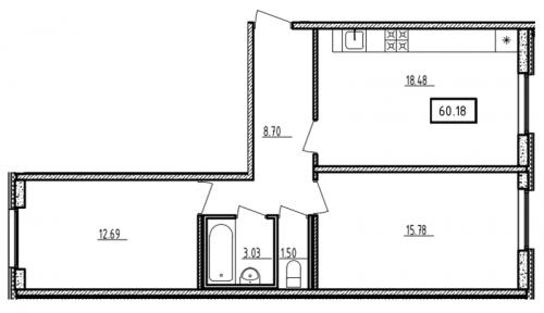 3-комнатная квартира на продажу (60,2 м<sup>2</sup>)