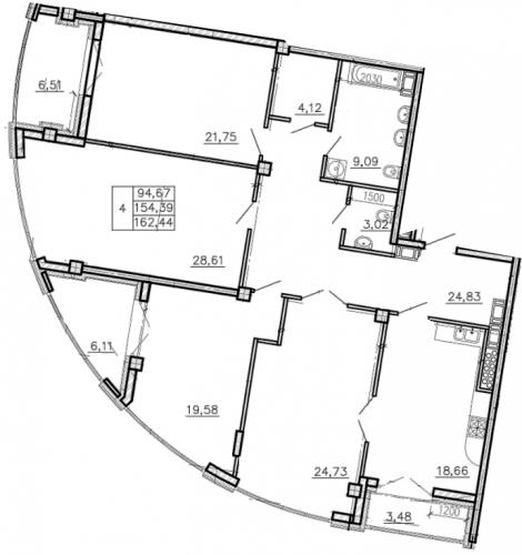 4-комнатная квартира на продажу (163,9 м<sup>2</sup>)