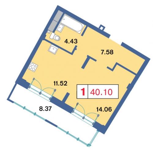 1-комнатная квартира на продажу (39,8 м<sup>2</sup>)