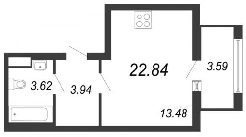 1-комнатная квартира на продажу (22,8 м<sup>2</sup>)