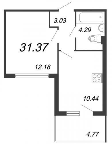 1-комнатная квартира на продажу (31,4 м<sup>2</sup>)