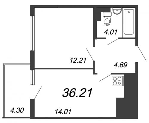 2-комнатная квартира на продажу (36,2 м<sup>2</sup>)