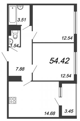3-комнатная квартира на продажу (54,4 м<sup>2</sup>)