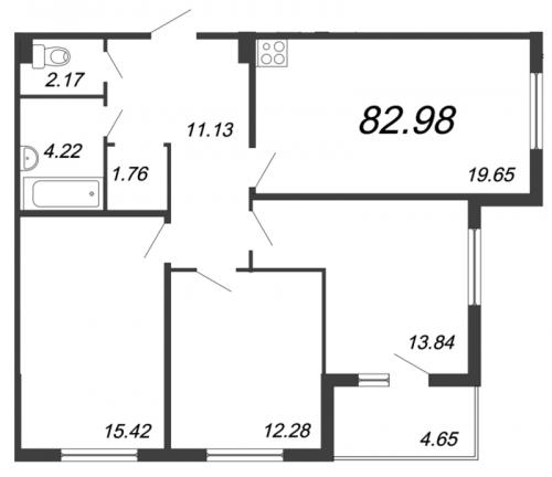4-комнатная квартира на продажу (83,0 м<sup>2</sup>)