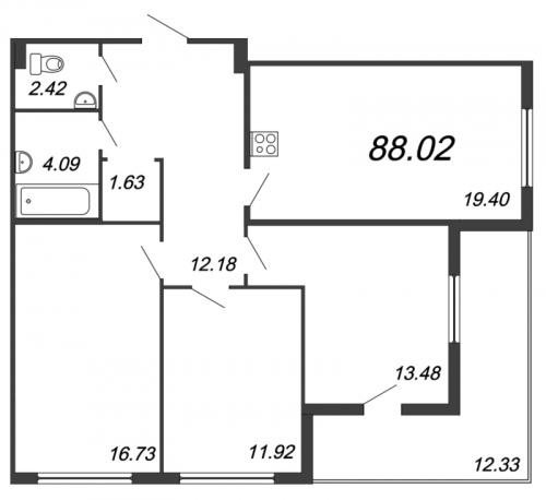 4-комнатная квартира на продажу (88,0 м<sup>2</sup>)
