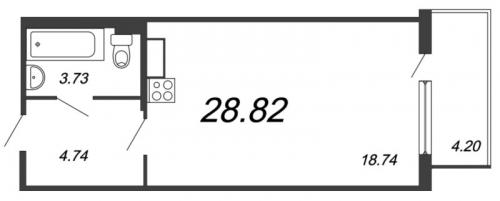 Студия на продажу (28,8 м<sup>2</sup>)