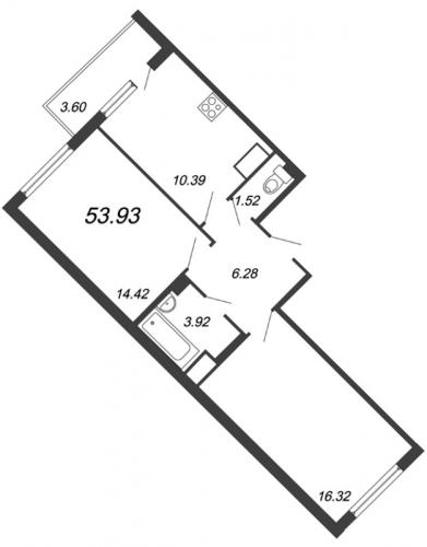 2-комнатная квартира на продажу (53,8 м<sup>2</sup>)