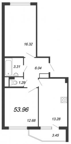 2-комнатная квартира на продажу (53,6 м<sup>2</sup>)