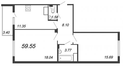 2-комнатная квартира на продажу (60,2 м<sup>2</sup>)