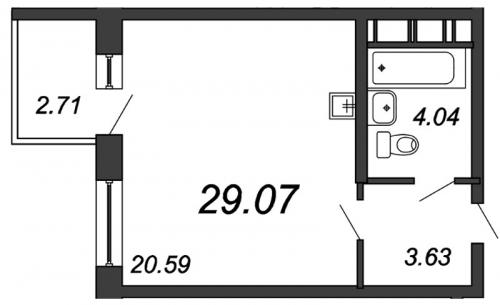 Студия на продажу (29,1 м<sup>2</sup>)
