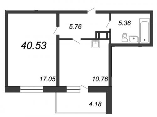 1-комнатная квартира на продажу (40,5 м<sup>2</sup>)