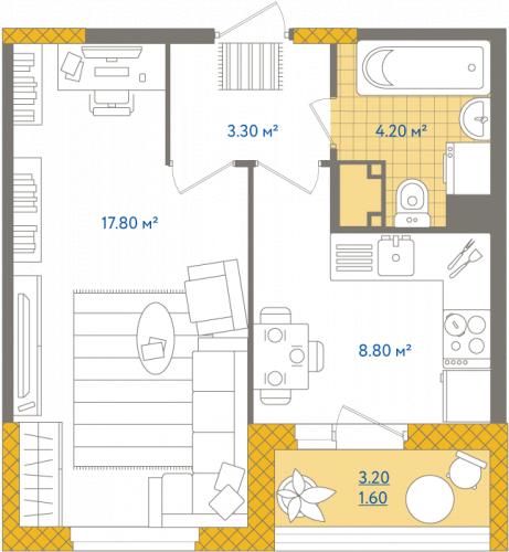 1-комнатная квартира на продажу (35,7 м<sup>2</sup>)