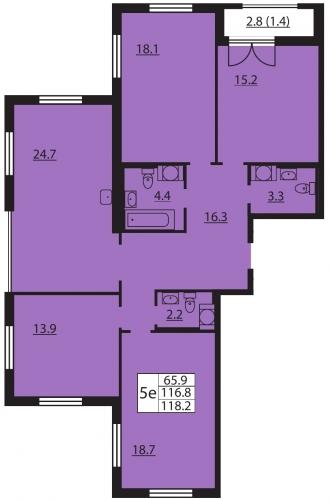 5-комнатная квартира на продажу (118,2 м<sup>2</sup>)