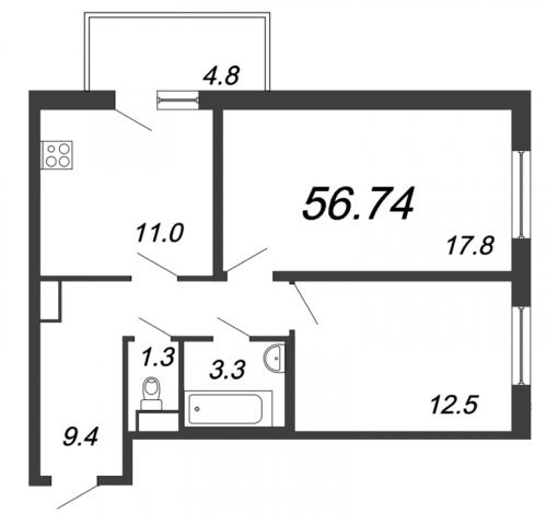 2-комнатная квартира на продажу (56,7 м<sup>2</sup>)