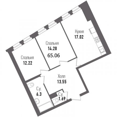 2-комнатная квартира на продажу (65,1 м<sup>2</sup>)