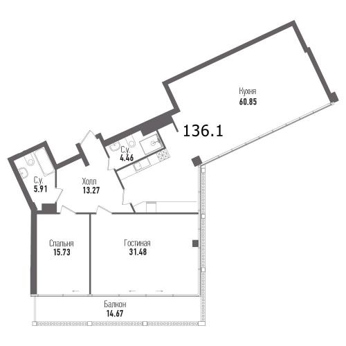 2-комнатная квартира на продажу (136,1 м<sup>2</sup>)