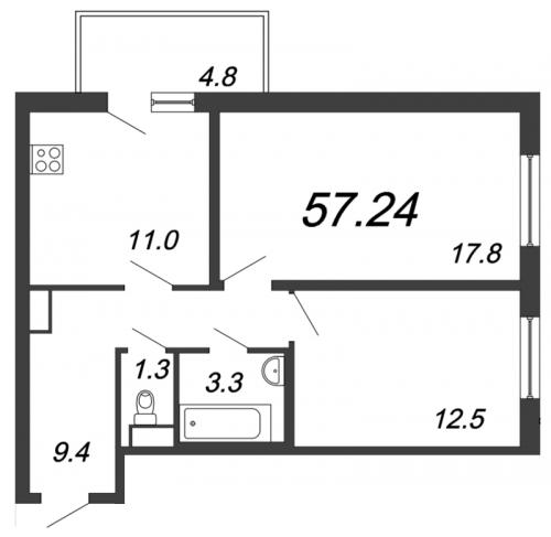 2-комнатная квартира на продажу (57,2 м<sup>2</sup>)