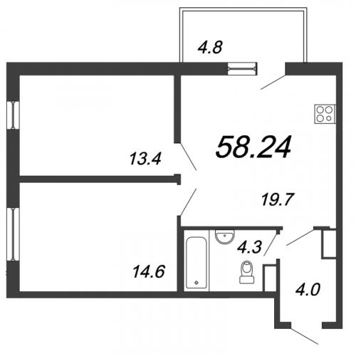 3-комнатная квартира на продажу (58,2 м<sup>2</sup>)