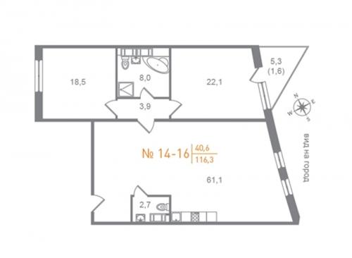2-комнатная квартира на продажу (119,6 м<sup>2</sup>)