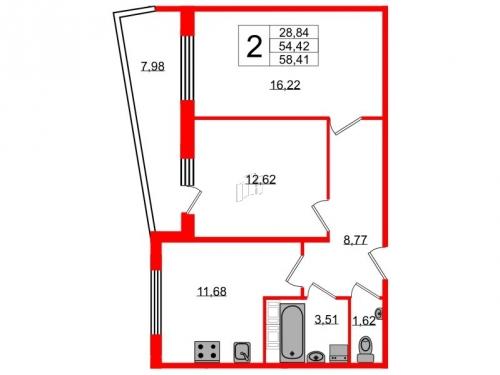 2-комнатная квартира на продажу (58,4 м<sup>2</sup>)
