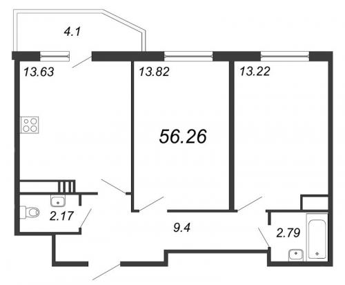 3-комнатная квартира на продажу (56,3 м<sup>2</sup>)