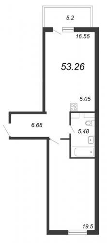 1-комнатная квартира на продажу (52,7 м<sup>2</sup>)