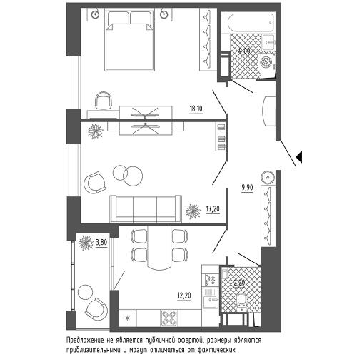 2-комнатная квартира на продажу (65,6 м<sup>2</sup>)