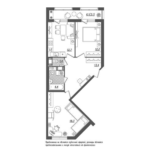 2-комнатная квартира на продажу (65,5 м<sup>2</sup>)