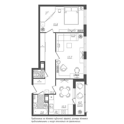 2-комнатная квартира на продажу (64,3 м<sup>2</sup>)