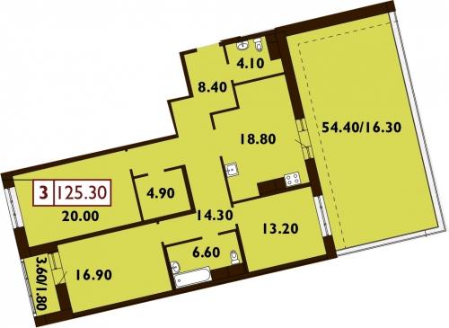 3-комнатная квартира на продажу (126,0 м<sup>2</sup>)