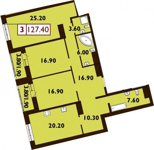 3-комнатная квартира на продажу (128,9 м<sup>2</sup>)